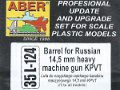 Barrel for Russian 14,5mm heavy machine gun KPVT
